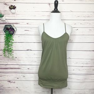 Olive Army Green Banded Waist Tank Top Size Small